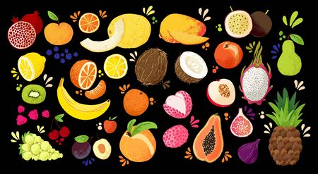 Set of colorful hand draw fruits - tropical sweet fruits, and citrus fruit illustration. Apple, pear, orange, banana, papaya, dragon fruit, lichee and other. Vector colored sketch isolated illustratio