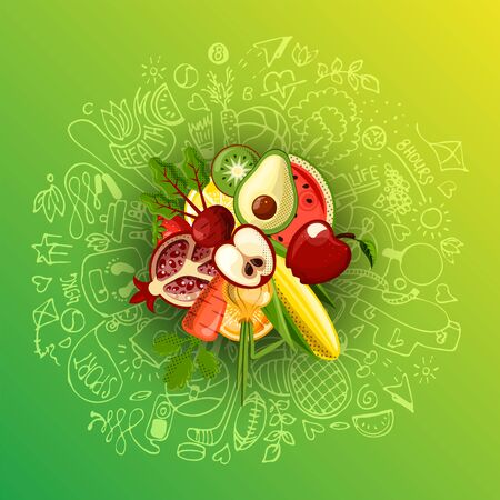 Healthy lifestyle concept with sport and healthy diet doodles and icons - sport, food, happy and normal sleep icons around fresh, juicy fruits on white background. Healty diet and sport concept 스톡 콘텐츠