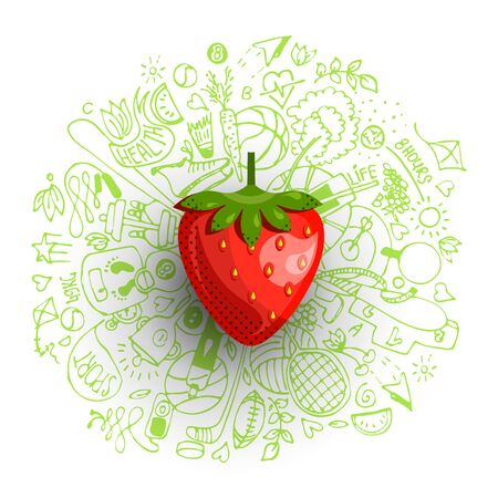 Healthy lifestyle concept with sport and healthy diet doodles and icons - sport, food, happy and normal sleep icons around fresh, juicy strawberry on white background. Healty diet and sport concept