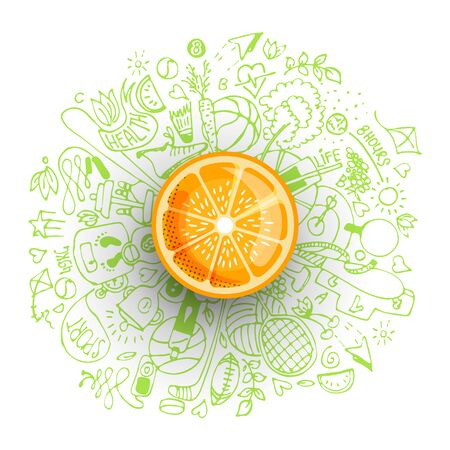 Healthy lifestyle concept with sport and healthy diet doodles and icons - sport, food, happy and normal sleep icons around fresh, juicy orange on white background. Healty diet and sport concept