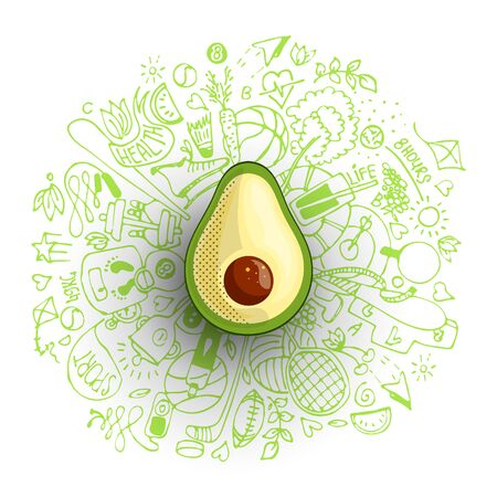 Healthy lifestyle concept with sport and healthy diet doodles and icons - sport, food, happy and normal sleep icons around fresh, juicy avocado on white background. Healty diet and sport concept