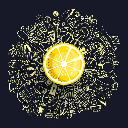 Healthy lifestyle concept with sport and healthy diet doodles and icons - sport, food, happy and normal sleep icons around fresh, juicy lemon on white background. Healty diet and sport concept