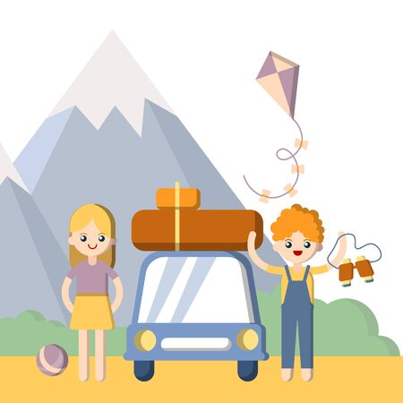 Summer outdoor family vacation. Boy and girl, man and woman with car and baggage driving for summer mountain vacation. Flat vector illustration
