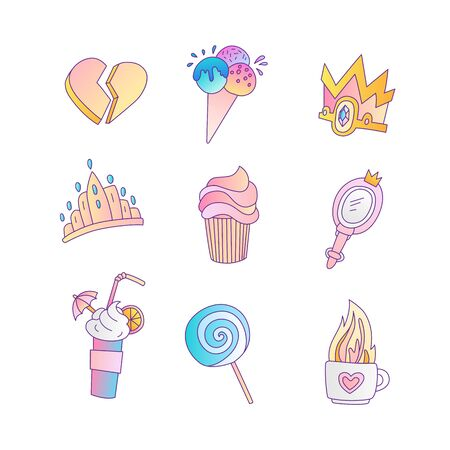 Set of princess and little girls cute fashion icon. Lovely vector set of hand drawn princess elements - cocktail for little princess, lollipop, sweets, lolipop, ice cream and tiara. Cute colored icon