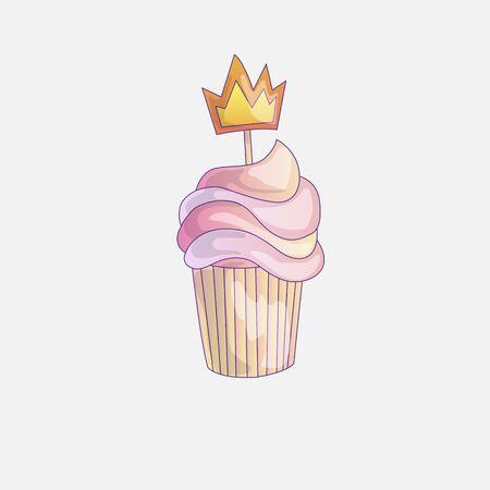 Cute cartoon little princess cupcake illustration with crown. Cream pink, strawberry cake for little princess. Cute cupcake icon isolated. Cartoon cupcake with crown