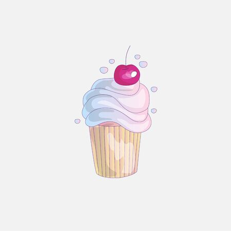 Cute cartoon little princess cupcake illustration with cherry. Cream pink, cherry cake for little princess. Cute cupcake icon isolated. Cartoon cupcake with cherry
