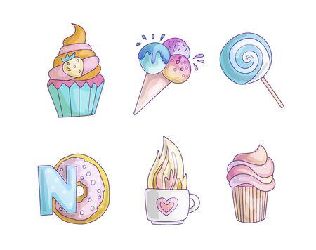 Ensemble d'icônes de petite princesse de dessin animé mignon - crème glacée sucrée, gâteau, cocktails, beignet et sucette. Bonbons girly mignons - autocollants d'icônes dans une collection Vecteurs