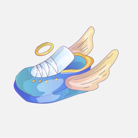 Cute cartoon sneakers icon. Sneaker sticker, icon, little girl and princess cartoon illustration. Sneaker with wings and saint halo. Cute sneakers illustration with little girl fashion elements.