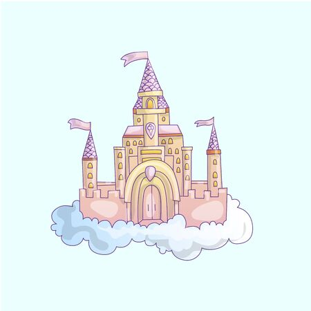 vector cartoon illustration of pink princess magic castle in clouds. pink princess magic castle in blue clouds, with flags and torrets, pastel pink color. Cute cartoon princess castle illustration