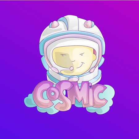 Astronaut, cosmonaut girl in space cosmos helmet with word Cosmic and clouds on bottom. Cute cartoon vector illustration of rebel brave girl, space adventure, girl power concept. Feminist girl