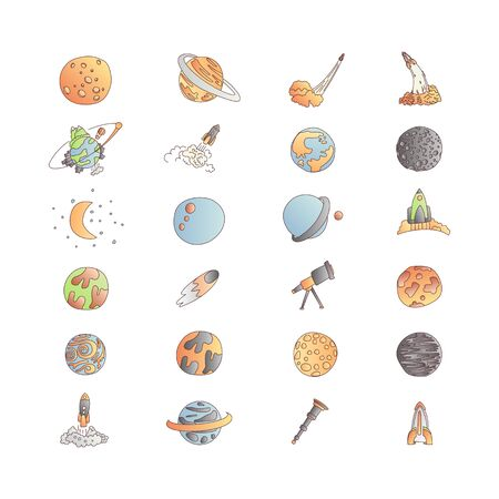 Cute cartoon space asrtonaut cosmos vector icon collection. Planet, rocket, observatory icons in one cute set, isolated on white background. Иллюстрация