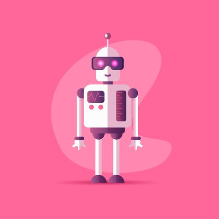 Funny vector robot icon in flat style isolated on pink background. Vector illustration of Chatbot icon with neon colors and gradients. Customer support service chat bot. Cute cartoon robot cartoon icon
