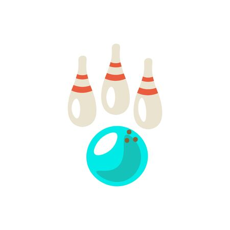 Bowling cute cartoon vector icon illustration. Bowling ball and bowling skittle on white background