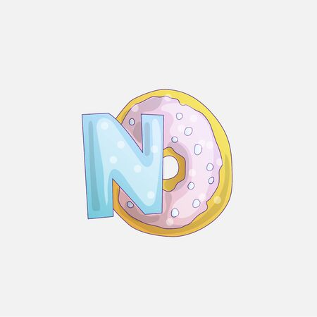 Cute fashion girl sticker with word No, and donut illustration. Little princess and girl sticker illustration with donut isolated on light grey background