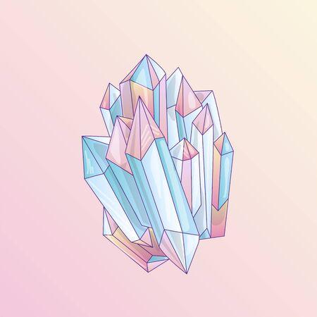 Blue and pink crystal, cartoon cute vector Quartz illustration. Quartz Crystal druse, pink princess grain on pink background. Cartoon red semiprecious stones of blue Quartz, cute bright princess illustration