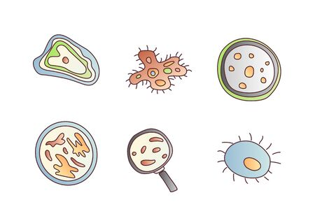 Scientic research cartoon vector icon. Molecules and unicellular organisms under a microscope and magnifying glass. Molecular studies of scientists, a set of vector cartoon style icons on white backgr  イラスト・ベクター素材