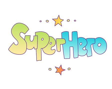 Superhero lettering with gradient colors. Superheroes word, cartoon cute style with decorative elements isolated on wihte background. superpower and super hero lettering Illustration