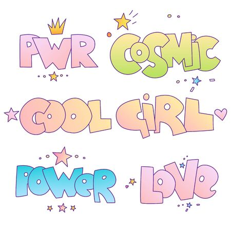 Cute cartoon motivational quotes and lettering for little princess and bad brave girl. Power, cosmic, cool girl and love words isolated on white background with star and crown, Girl power concept lett