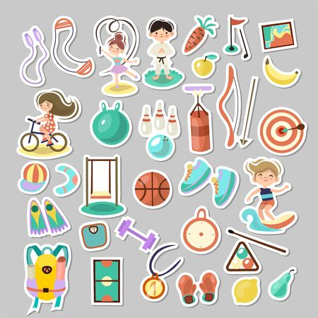 Kids doing sport games, vector cartoon illustration. Playing, jumping, swimming boys and girls with sports equipment, balls. Sport games and summer kids activities with equipment on white