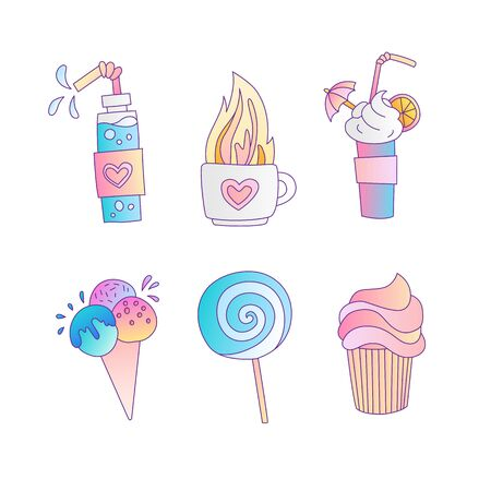 Cute cartoon little princess icon set - sweets sweet ice cream, cake, cocktails, donut and lollipop. Cute girly sweets - icon illustration in one collection