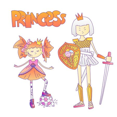 Bad girl cute cartoon illustration. Bad girl and princess warrior, feminist cartoon concept illustration. Bad tomboy girl with soccer ball, princess warrior in armour, sword and shield. Brave girl Ilustração