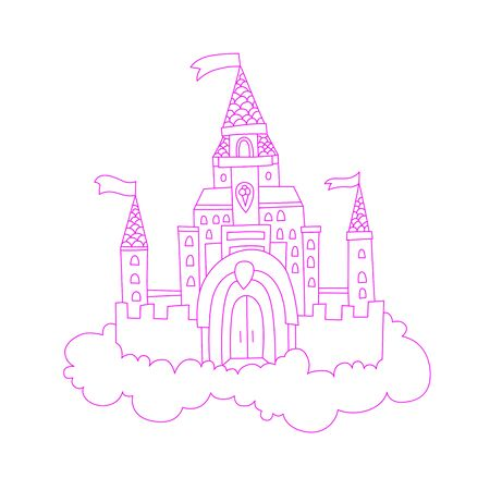 vector cartoon lined illustration of pink princess magic castle in clouds. pink princess magic castle in blue clouds, with flags and torrets, pastel pink color. Cute line cartoon princess castle illustration