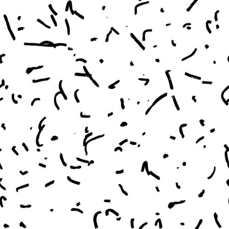 Abstract art seamless pattern, created by dry ink brush. Textured black lines and dots in simple abstract pattern on white background. Black and white abstract art background Ilustração