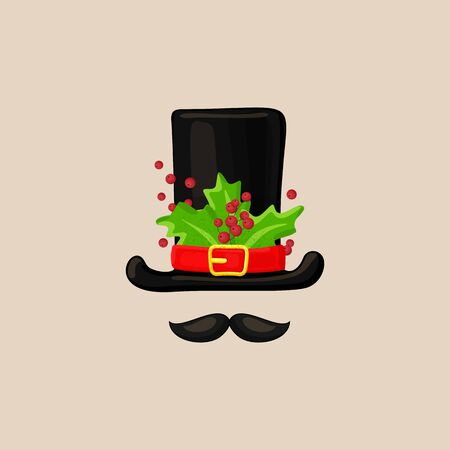 Christmas photo prop booth mask collection. Xmas snowman hat with green leaves and berries with mustache, photo booth elements for christmas party, selebration. Fun xmas collection Ilustração
