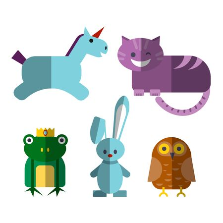 Cute flat vector illustration of magical animals - Cheshire Cat, unicorn, illusionist rabbit, owl and prince frog with crown, isolated on white background. Fairytale flat personages