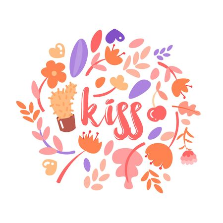 Feminist and cute girl power illustration set with lettering Kiss. Flowers, stickers, sweets with floral decoration around Kiss word. Cute cartoon feministic girl power collection