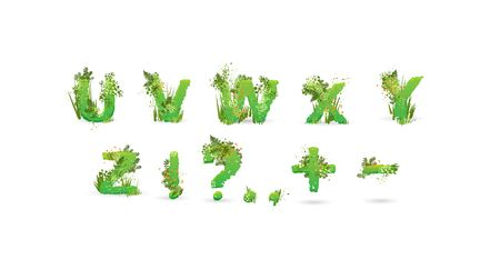 Green Leaves font. Vector illustration. Stylish eco alphabet from colorful tropical leaves, bushes, flowers and nature elements. Egology and natural font, summer and tropical letters isolated on white Stock Illustratie
