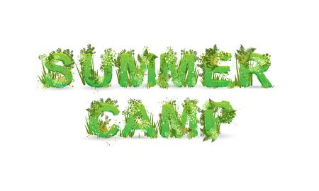 Vector illustration of word Summer camp with capital letters stylized as a rainforest, with green branches, leaves, grass and bushes next to them, isolated on white.