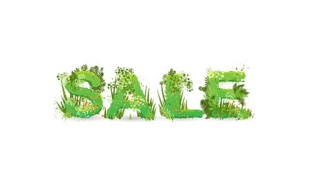 Vector illustration of word Summer Sale with capital letters stylized as a rainforest, with green branches, leaves, grass and bushes next to them, isolated on white.