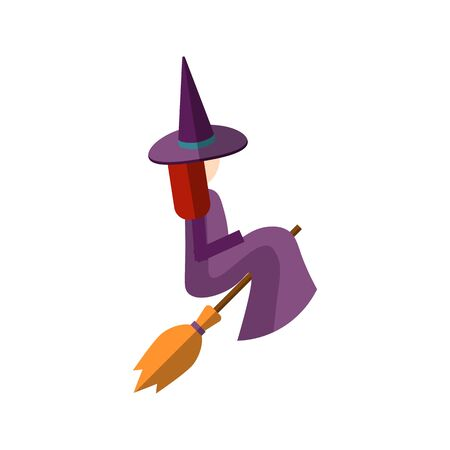 Vector flat illustration of cute witch sitting on a broom, and flying on a broom. Magical flat icon with young woman in dark magenta magic hat, cloak. Magician witch vector flat illustration icon.