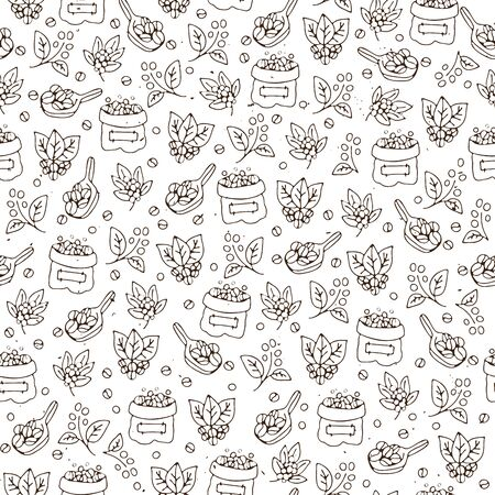 Vector seamless coffee pattern with coffee beans and leaves, sack of coffee seeds, cofe equipment. Hand draw cafe seamless pattern with light texture on white background. Brown bean, leaf, bag