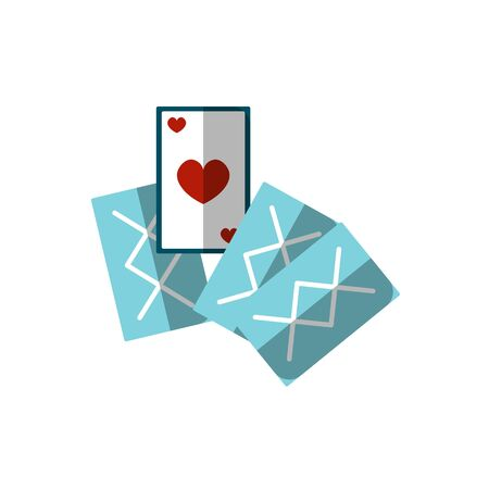 Vector flat illustration of playing cards. Icon of pocker cards isolated on white background. Game cards for pocker, casino illustration. Play card icon with heart on one of them.