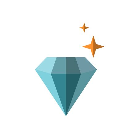 Vector flat illustration of shiny diamond with stars around it, isolated on white background. Simple minimal pictogram of expensive jewelry gemstone, blue diamond, vector diamond icon