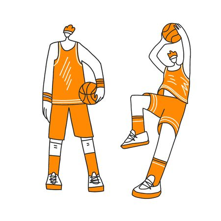 Vector collection of lined doodle and hand draw illustration of basketball players. Man playing in basketball, throwing a ball into basket, playing with ball and standing stright. Professional players