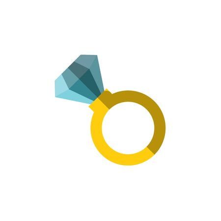 Vector flat icon of a ring with huge diamond on it. Simple ring illustration with incrustrated expencive luxury gemstone. Diamond in a ring, vector flat illustration isolated on white Ilustração