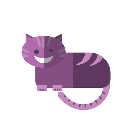 Vector flat illustration of smiling Cheshire Cat in magenta pink colors isolated on white. Cheshire Cat from kids fairy tale, tricky and smiling cute character for magic game app, child illustration. Illusztráció