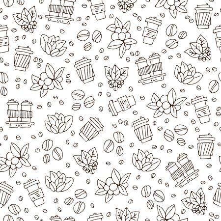Vector hand tekenen koffiekopje en koffiebonen met bladeren patroon. Koffie afhaal eenvoudig naadloos patroon, papieren koffiekopjes op witte achtergrond, schets gestructureerde achtergrond, koffie naadloos patroon.