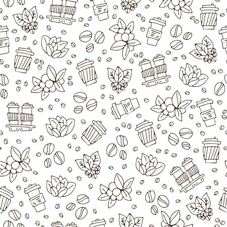 Vektorhand zeichnen Kaffeetasse und Kaffeebohnen mit Blattmuster. Kaffee zum Mitnehmen einfaches nahtloses Muster, Papierkaffeetassen auf weißem Hintergrund, Skizzenstrukturhintergrund, Kaffee nahtloses Muster.