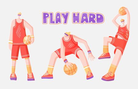 Vector flat collection of basketball players. Man playing in basketball, throwing a ball into basket, playing with ball and standing stright, dynamic active sport and basketballs. Professional basketball players, vector illustration