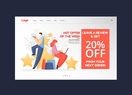 Feedback, survey vector flat landing page concept with people, man, woman sitting on rating stars, writing reviews, comments about service, product. Rate Evaluation and testimonial, customer concept