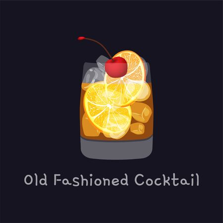 Tasty alcoholic old fashioned cocktail with orange slice, cherry, and lemon peel garnish with ice cubes, isolated on black background. Vector illustration Ilustracja