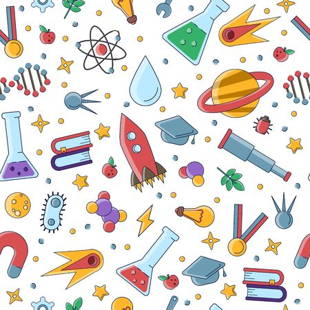 Science flat seamless pattern with scientific elements - molecule, atom structure, rocket, books, water and other on one simple educational and school seamless pattern. Çizim