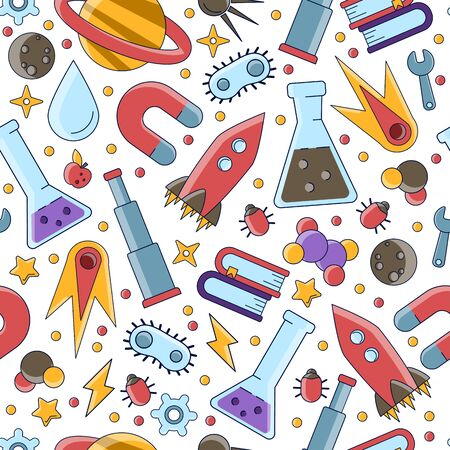 Science flat seamless pattern with scientific elements - molecule, atom structure, rocket, books, water and other on one simple educational and school seamless pattern. Illustration