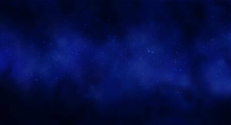 Illustrazione vettoriale di sfondo Cosmos Space con cielo stellato, stella massiccia nel cosmo profondo nei colori blu e nero. Futuristico astratto, tecnologia, fondo di astrologia. Sfondo dello spazio profondo
