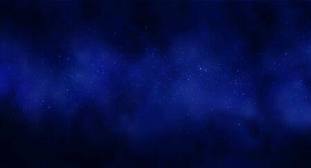 Ilustracja wektorowa kosmosu kosmos tło z rozgwieżdżonym niebem, gwiazda masywna w głębokim kosmosie w kolorach niebieskim i czarnym. Streszczenie futurystyczny, technologia, tło astrologii. Tło głębokiej przestrzeni