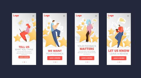 Feedback, survey vector flat app concept with people, man and woman sitting on big rating stars, writing reviews and making comments about service or product. Rate Evaluation and testimonial, customer service concept.